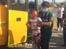 现场惨烈!河南幼儿园校车与货车相撞
